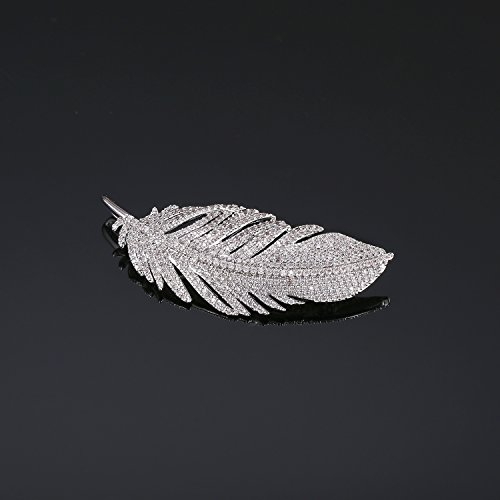 LILIE&WHITE White Gold Plated Cubic Zirconia Paved Feather Brooch Pin Mother's Day Gift Leaf Shape by LILIE&WHITE (Image #5)'