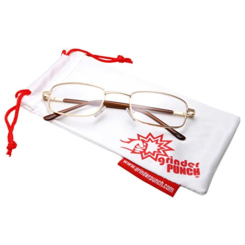 grinderPUNCH Adult Unisex Rectangle Frame Clear Lens Non Prescription Glasses Gold - Glasses Frame Rectangle