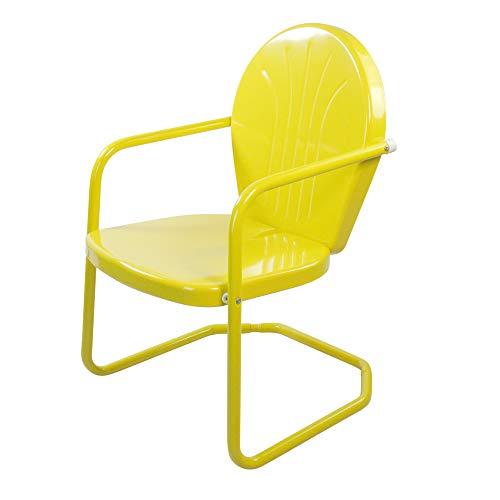 Outdoor Retro Metal Tulip Armchair, Yellow