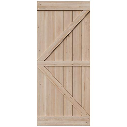 SmartStandard 36in x 84in Sliding Barn Wood Door Pre-Drilled Ready to Assemble, DIY Unfinished Solid Hemlock Wood Panelled Slab, Interior Single Door, Natural, Frameless K-Shape (Fit 6FT-6.6FT Rail) ()