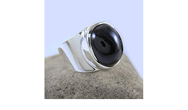 Black Stone Ring Wide Ring Promise Ring Worry Ring Black Onyx Ring Yoga Ring Gift For Her Meditation Ring 925 Sterling Silver Ring