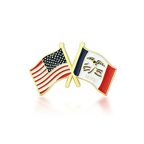 GS-JJ American and Iowa State Crossed Friendship Flag Enamel Lapel Pin (1 Piece)
