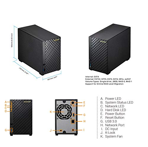 Asustor AS1002T v2 | Network Attached Storage + Free exFAT License | 1.6GHz Dual-Core, 512MB RAM | Personal Private Cloud | Home Media Server (2 Bay Diskless NAS) by Asustor (Image #2)