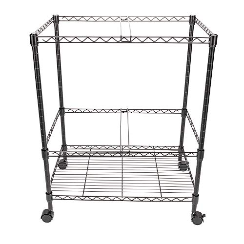 GHP 23.6''x15.7''x27.6'' 2-Tier Black Carbon Steel Rolling Office Mobile File Cart by Globe House Products