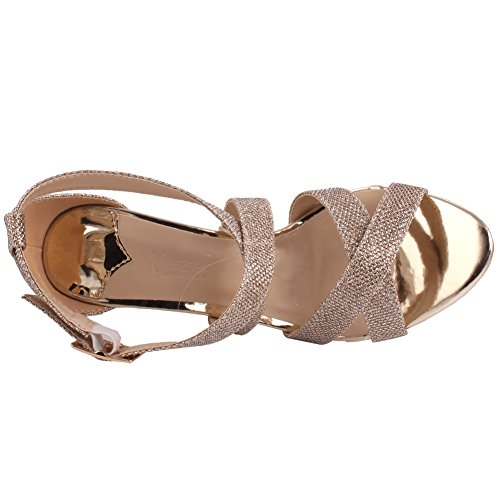Unze Mujeres Bombshell Glittery Strappy Mediados de Low High Heel Partido Prom Reunirse Carnaval Evening Wedding Sandals Talones Zapatos Uk Tamaño 3-8 Gold