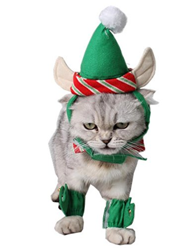 48193c620c8 ANIAC Cute Cat Dog Christmas Costume Xmas Clothes Green Elf Outfit for  Small Pets - Buy Online in UAE.