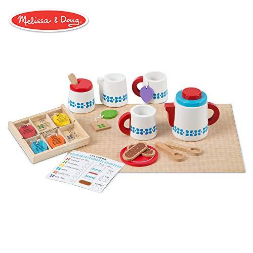 (Melissa & Doug Wooden Steep & Serve Tea Set (Pretend Play, All-Wood Tea Service, Brightly Colored Tags, 12