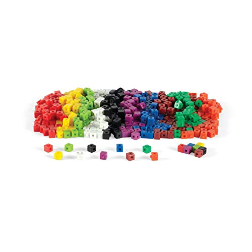 Math Tub - ETA hand2mind Interlocking Plastic Unit Cubes with Storage Tub (Set of 500)