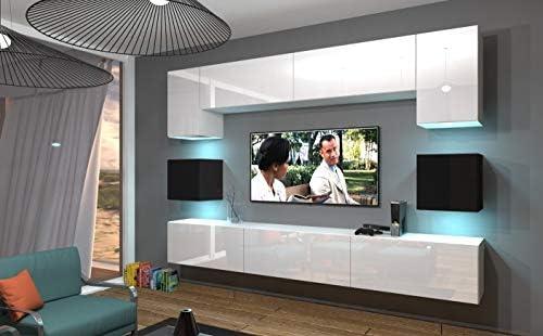 Home Direct NOWARA N1, Modernes Wohnzimmer, Wohnwände, Wohnschränke,  Schrankwand (Weiß-Schwarz MAT Base/Weiß-Schwarz HG Front, LED RGB 16 Farben)