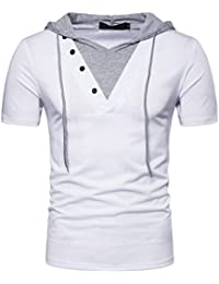 """<span class=""""a-offscreen"""">[Sponsored]</span>Mens Casual Hooded T-Shirt Short Sleeve Pullover Hoodie Top"""
