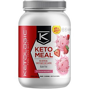 KetoLogic Keto Meal Replacement MCT Shake  Promotes Weight Loss/Suppresses Appetite/Low Carb  Strawberry, 20 Servings