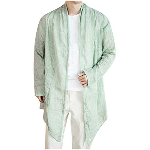 Linen Shirts for Men Kimono Big and Tall Cardigan Long Sleeve Loose Retro Lightweight Tops Blouse (5XL, Green) ()