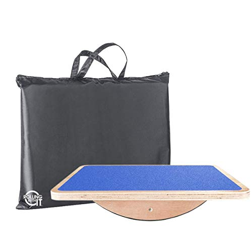 Professional Wooden Rocker, Balance Board - Core Strength, Flexibility, Posture, Stability - Balancing Trainer - Non-Slip Platform - Low Impact Exercise - Standing Desk Accessory - AB Fitness Board ()