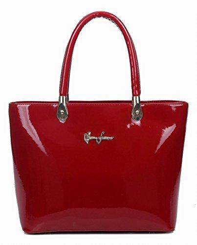 Casual cruzados Bolsas mano Charol Bolsos de Mujeres VogueZone009 Rojo Moda xwtqCnY8