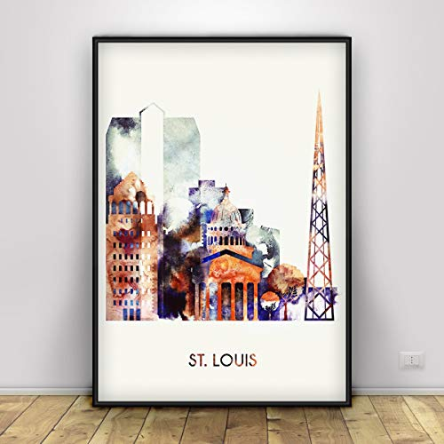 St. Louis City print, Wall Art Poster, Missouri cityscape St. Louis skyline, City poster, Typography art, Travel Poster, Monumental architechure, Unframed print