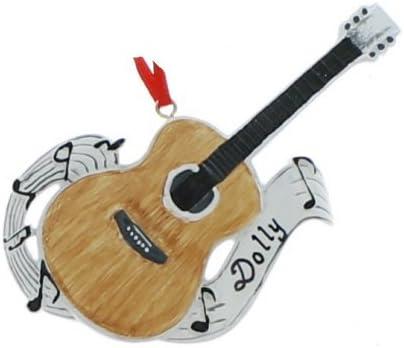 Guitarra acústica con notas musicales adorno de árbol de Navidad ...