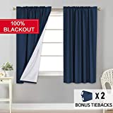 Flamingo P 100% Light Blocking Drapes Water Repellent Curtains with White Backing for Bedroom 63 inch Long Rod Pocket Window Treatment 2 Panels