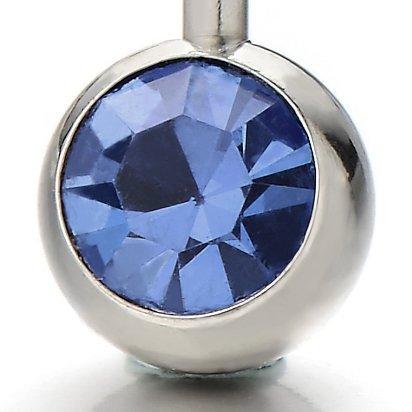 Nombril Anneau Piercing Bijoux de Corps Barbells Acier Chirurgical avec Bleu Zircone Cubique