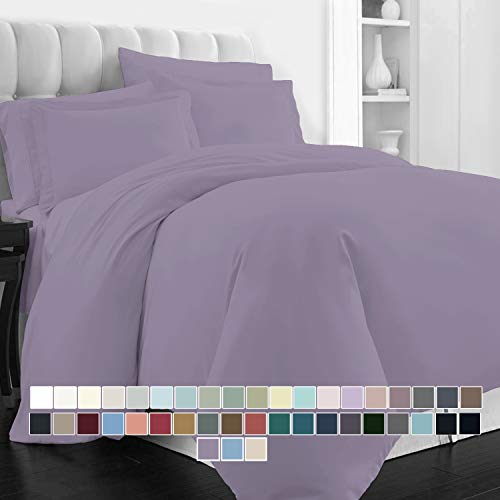 400 Thread Count Cotton Duvet Cover Set Queen Lavender, 100% Long Staple Cotton Bed Set Queen/Full Size, Soft Sateen Bedding Set with Button Closure (100% Cotton Frost Quilt Cover Set Queen/Full)