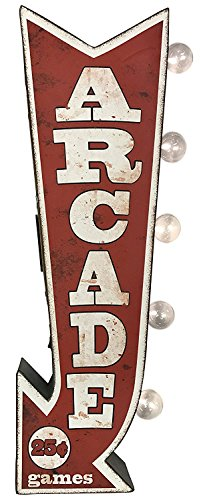 Arcade Wall (Arcade Sign, Illuminated By Battery Powered Large LED Lights, Double Sided Metal Marquee Arrow Display, Wall Decor Designed To Have A Distressed Finish)