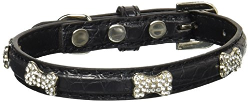 Mirage Pet Products Faux Croc Crystal Bone Collars, Black, Small