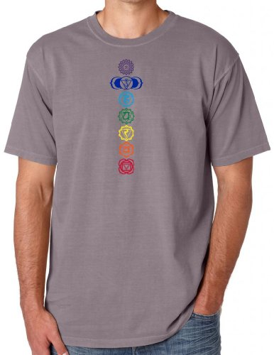 Yoga Clothing For You Mens Colored Chakras Garment-Dyed Cotton Tee Shirt, 3XL Clay