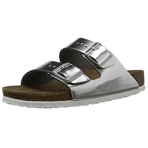 Birkenstock Arizona Metallic Silver Soft Footbed Leather Sandal 38 N (US Women's 7-7.5) by Birkenstock