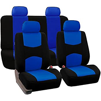 FH Group Universal Fit Full Set Flat Cloth Fabric Car Seat Cover Blue