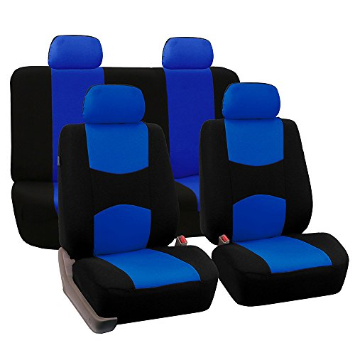 solid blue car seat covers - 2