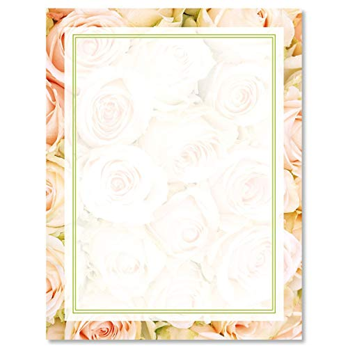 (Pale Pink Roses Letter Papers - Set of 25 spring stationery papers are 8 1/2