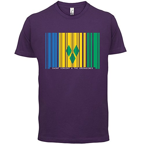 Saint Vincent and the Grenadines / St. Vincent und die Grenadinen Barcode Flagge - Herren T-Shirt - Lila - S