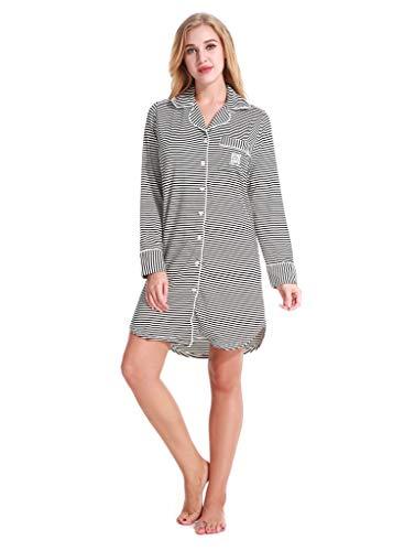 Aoymay Womens Nightshirt Buttom Down Pjs Long Loungewear Knit Sleepshirt (Black and White Stripes S)