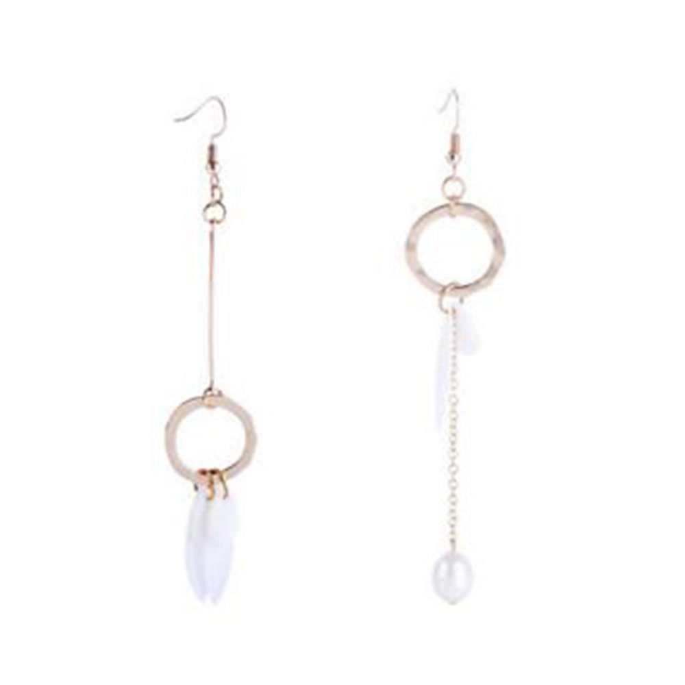Grace Jun Gold Color Shell Freshwater Pearls Long Chain Drop Earrings (Pierced)