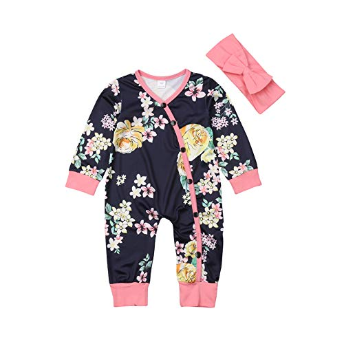 Baby Girls Floral Romper Sleepers Long Sleeve Bodysuit Jumpsuit with Bow Headband 2 Piece Pajamas Outfit Clothes (0-3 Months, Black+Pink)