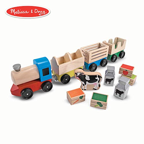 Melissa & Doug Wooden Farm Train Toy Set (3 Linking Cars) ()