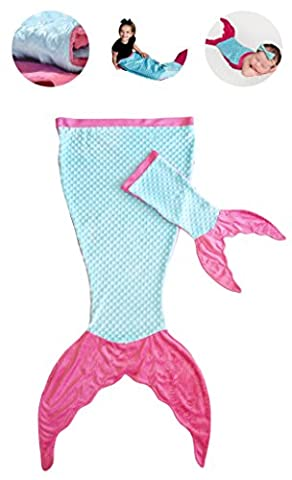 PoshPeanut Mermaid Blanket Softest Minky Comfy Cozy Blankie for Kids Ages 3-13 with FREE Toy Doll Blanket Included (Turquoise / (Movie Cool Dry Place)