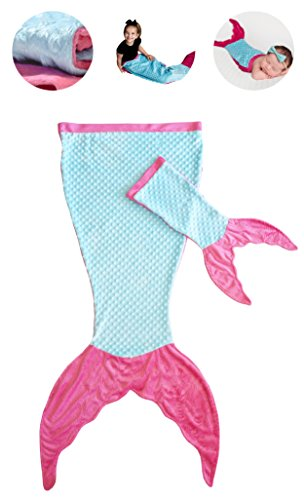 PoshPeanut Mermaid Blanket For Kids - Comfortable Blankie for Children Ages 3-13 with FREE Toy Doll Tail Blanket (Turquoise/Pink)