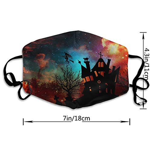 Anti Dust Face Mouth Mask Halloween Theme Ghost House Witch Colorful Clouds Warm Anti Dust Mask Anti-fog Mask Antibacterial Earloop Mouth Mask Face Masks For Men Women Kids Girls Boys Teens