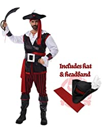 Pirate Costume Men's Plundering Sea Captain Adult Set Halloween Dress Up Party