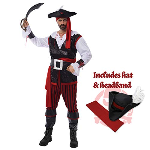 Spooktacular Creations Pirate Costume Men's Plundering Sea Captain Adult Set for Halloween Dress Up Party Costume (S) Red -