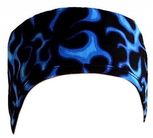 Flame Cap (Mens And Womens Medical Scrub Cap - Blue Liquid Flames On Black)