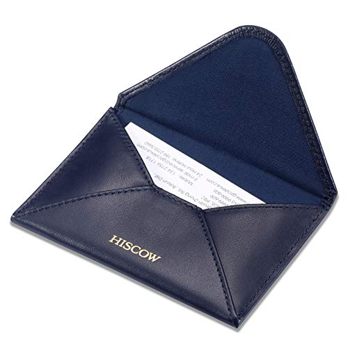 HISCOW Envelope Business Card Case with Magnet Closure - Italian Calfskin (Navy Blue)