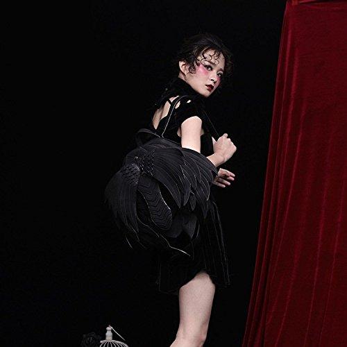 Daypack de estilo del Casual mujeres Black Travel de la Alas Shoulder PU las Bag creativas mochila de Punky cuero S1CXwTnqn