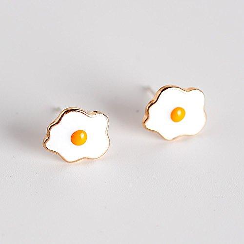s925 Needles Cute Cartoon Style Poached Egg Omelette Earrings earings Dangler Eardrop Elegant Women Girls Jewelry Wholesale ()