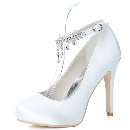 Primavera Brillante Fiesta Zapatos Tacones Y La Altos Boda yc White Verano L De Otoño Noche Mujer YOW6w