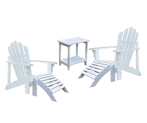 Red Cedar Adirondack Rocking Chair - Shine Westport Adirondack Chairs With Two Ottoman and a Rectangular Side Table Bundle in White