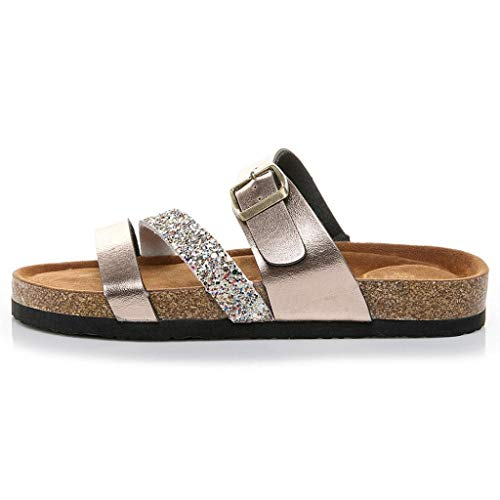 Cork Buckle Daily Casual Sale Strap Sandals Hot Gold Rose Cross Womens Realdo Shoes Sequin Slippers AypXWcv