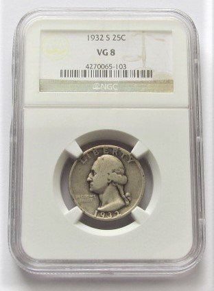1932 S Washington 90% Silver Key Date Quarter VG8 NGC (Issue 1932)