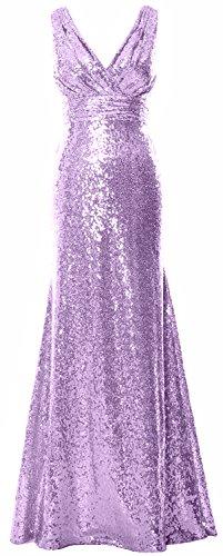 MACloth Women Long Bridesmaid Dress 2017 Sequin V Neck Formal Party Evening Gown Lavanda