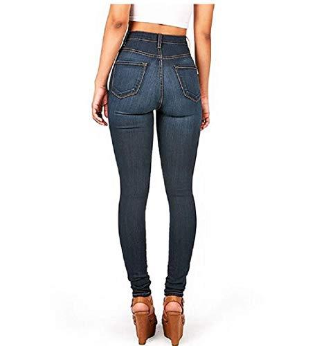 Blu Scuro Slim scuro M FuweiEncore Blu Dimensione Donna Pantaloni Eleganti Colore Jeans Vita Fit Alta TOwfxq6